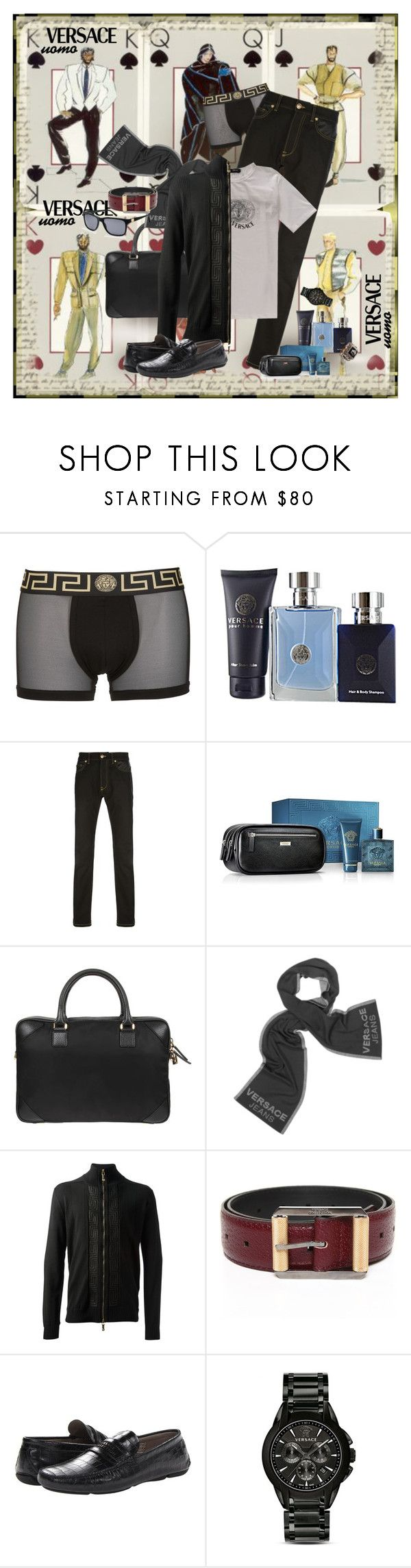 """Versace Uomo"" by halebugg ❤ liked on Polyvore featuring Versace, vintage, versace, designer, menswear and accessories"