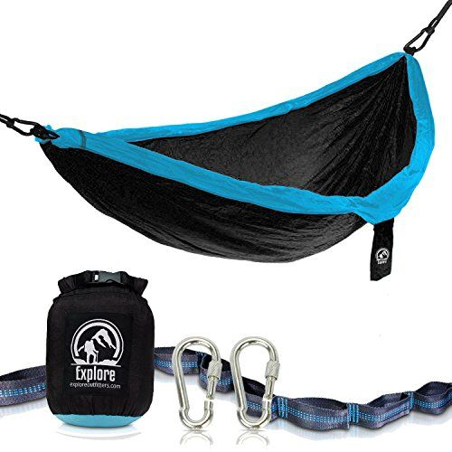 Explore Outfitters PRO Nylon Double Hammock With Tree Straps (Black/Blue)