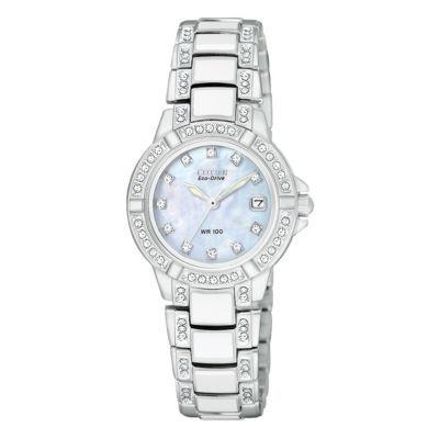 Citizen Eco-Drive white ceramic & stainless steel watch- Ernest Jones