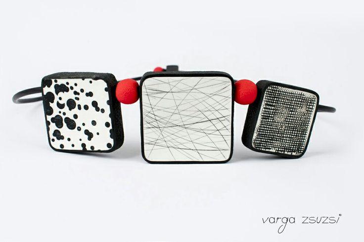 Polymer clay black and white necklace Fekete fehér süthető gyurma nyaklánc #cernit#suthetogyurma#red#texture