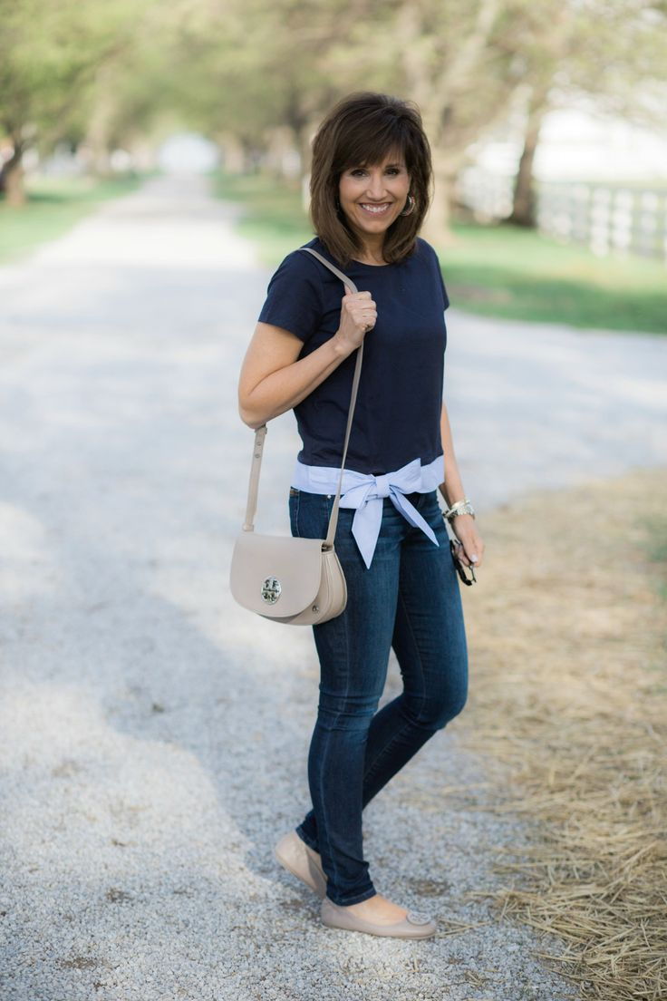 J.Crew Side Tie Tee + Tory Burch Ballet Flat and Crossbody Bag - Grace & Beauty
