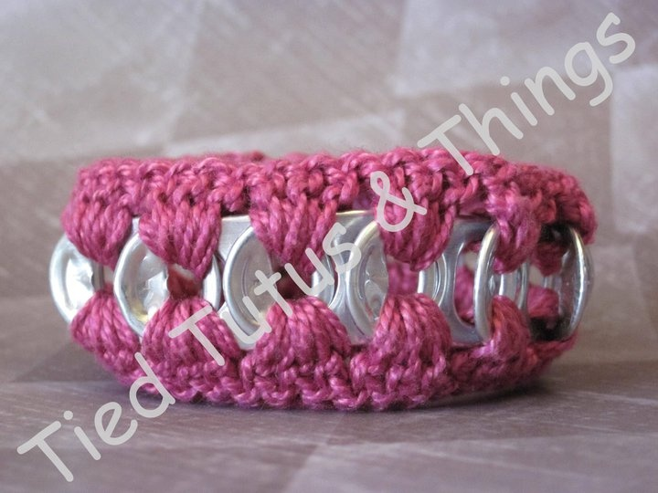 Pink Valentine's recycled pop tab bracelet $5. see us on etsy as Tied Tutus & Things and facebook.com/tiedtutus . we do custom orders