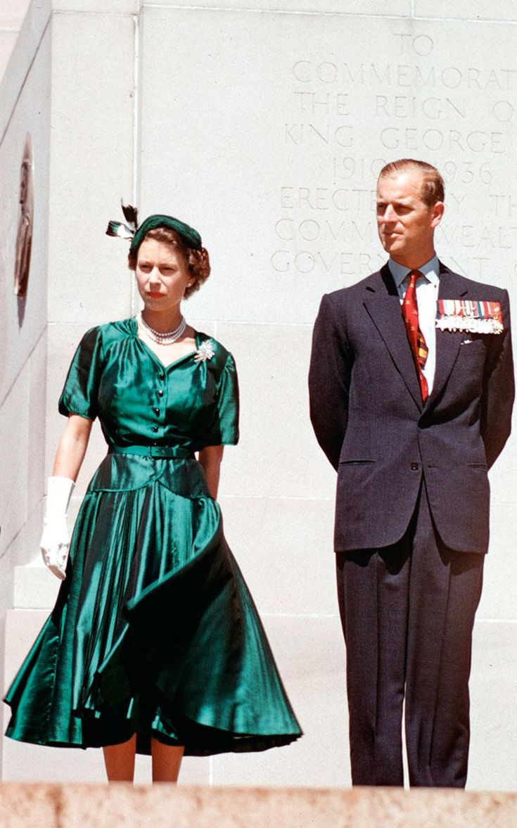telegraph: Queen Elizabeth in an emerald green skirt and jacket, with the Duke of Edinburgh during their Royal Tour of Australia, 1954