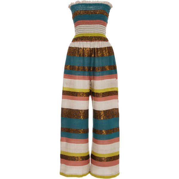 A Peace Treaty Tomar Ruched Jumpsuit ($375) ❤ liked on Polyvore featuring jumpsuits, stripe, strapless jumpsuit, wide leg jumpsuit, colorful jumpsuit, brown jumpsuit and multi color jumpsuit