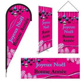 Drapeaux publicitaires imprimés modèle NOEL boules de Noël