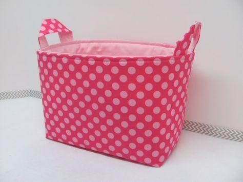 LARGE Fabric Organizer Basket Storage Container Bin Bucket Bag Diaper Holder Home Decor- Size Large - Ta dot pink