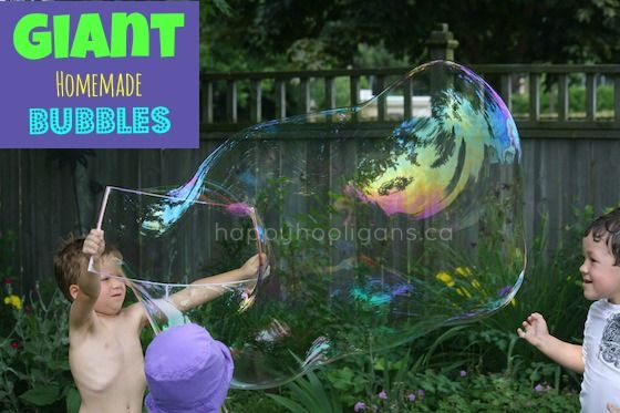 kids making a giant bubble