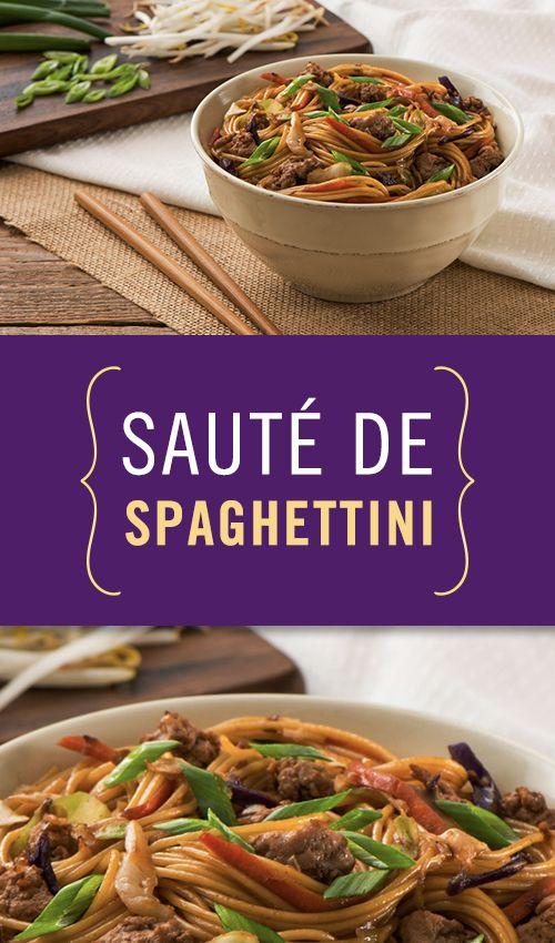 Notre sauté de spaghettini express est si délicieux qu'il deviendra un succès instantané. Catelli #Catelli150 #Smartlégumes #Pâtes #Repas #Spaghettini #FamillesCatelli #Facile #Rapide #Canada150