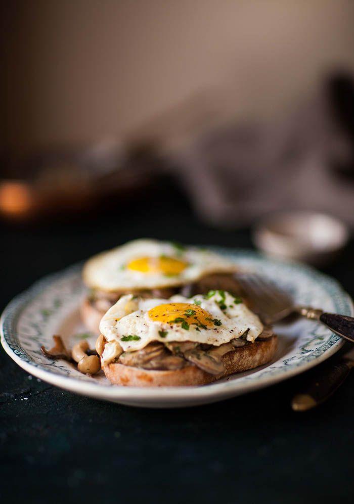 Creamy miso mushrooms and eggs on toast #recipe #breakfast