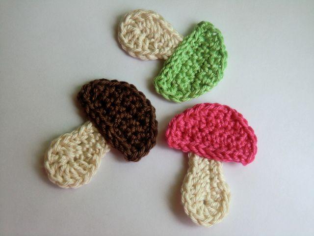 Hříbek, mushroom applique crochet  pattern