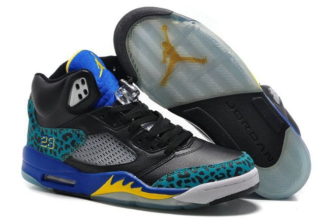 Free Shipping Only 69$ Air Jordan 5 Black Laney leopard Print Royal