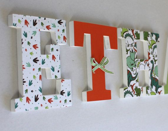 wooden name letters name ethan wooden letters baby name orange green dinosaur custom letters mylittledecor
