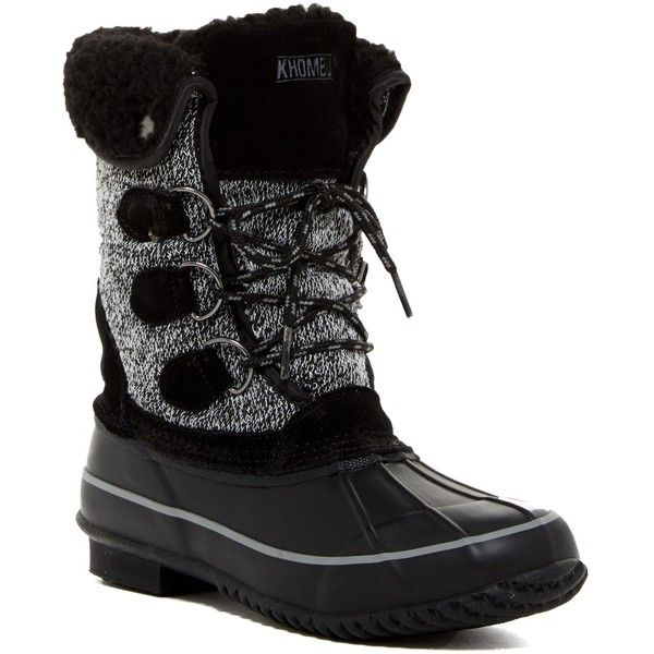 Khombu Jillie Faux Fur Lined Boot ($70) ❤ liked on Polyvore featuring shoes, boots, black, mid-calf boots, mid calf boots, black boots, lace up boots, leather boots and black leather boots