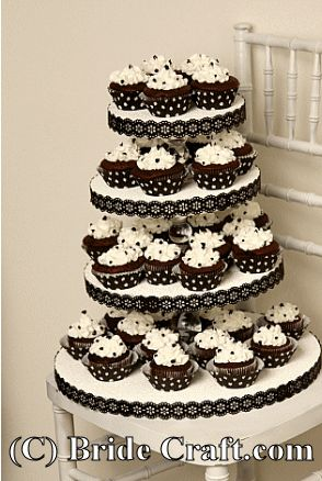 I am simply overjoyed at the elegance of the classic black and white colors in this amazing DIY cupcake stand!!! Cupcakes are so fun and easy to do, rather then having to slice and slice and slice a cake. SImply fabulous idea!