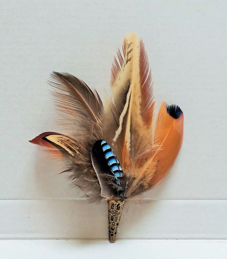 pheasant and jay feather pin, buttonhole, hatpin/ brooch http://countrycraftybits.co.uk/