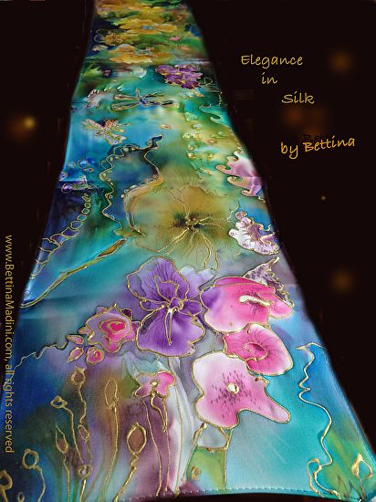 "Bettina Star-Rose - Work Zoom: Emerald Gardens - handpainted original Silk ""Goddess Scarf""- original painting on silk"