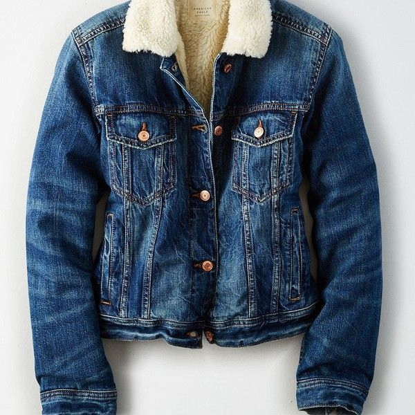 AE Faux-Sherpa-Lined Denim Jacket ($90) ❤ liked on Polyvore featuring outerwear, jackets, blue, jean jacket, denim jacket, lined jean jacket, faux-leather jacket and fleece-lined jackets