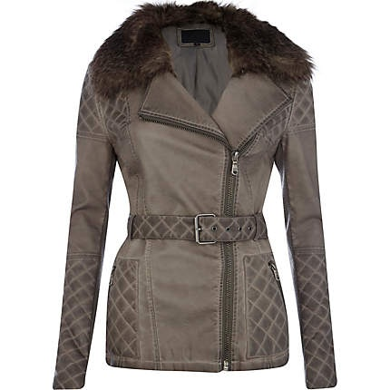 Leather look faux fur collar jacket #riverisland