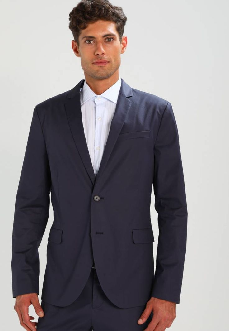 """KIOMI. Suit - navy. Outer fabric material:98% cotton, 2% spandex. Pattern:plain. Care instructions:Dry clean only. Sleeve length:Extra long,25.5 """" (Size 48). Back width:18.0 """" (Size 48). jacket length:28.5 """" (Size 48)..."""
