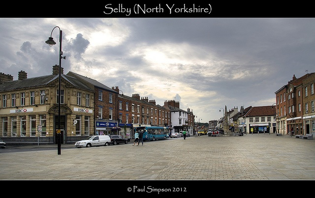 A view of Selby town centre on 24 August 2012. Selby is a small town in North Yorkshire (UK) alongside the River Ouse.    All my images are processed to look their best on my monitor – they may appear slightly darker/lighter on other screens depending