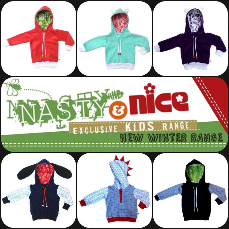 Nasty & Nice Exclusive Kids Range NEW  Winter Hoodies. available online at www.nastyandnice.co.za