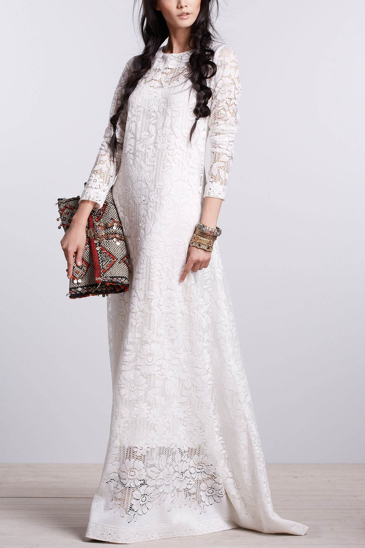 This would be GORGEOUS as an informal wedding gown!!  I picture it in a prairie or country setting, with rough wooden tables and mason jars for glasses... :)  Kella Lace Maxi Dress - Anthropologie.com