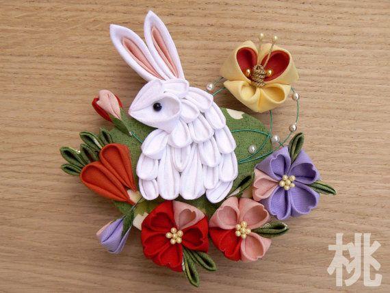 Кролик Kanzashi и мини-амулеты морковь