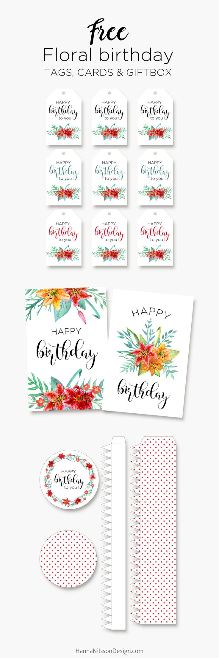 Free Printable Floral Birthday Cards, Tags and Gift Box from iHanna {newsletter subscription required}