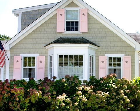 coastal shutters and I love the color of the house. Gonna try to make my beach house this color!