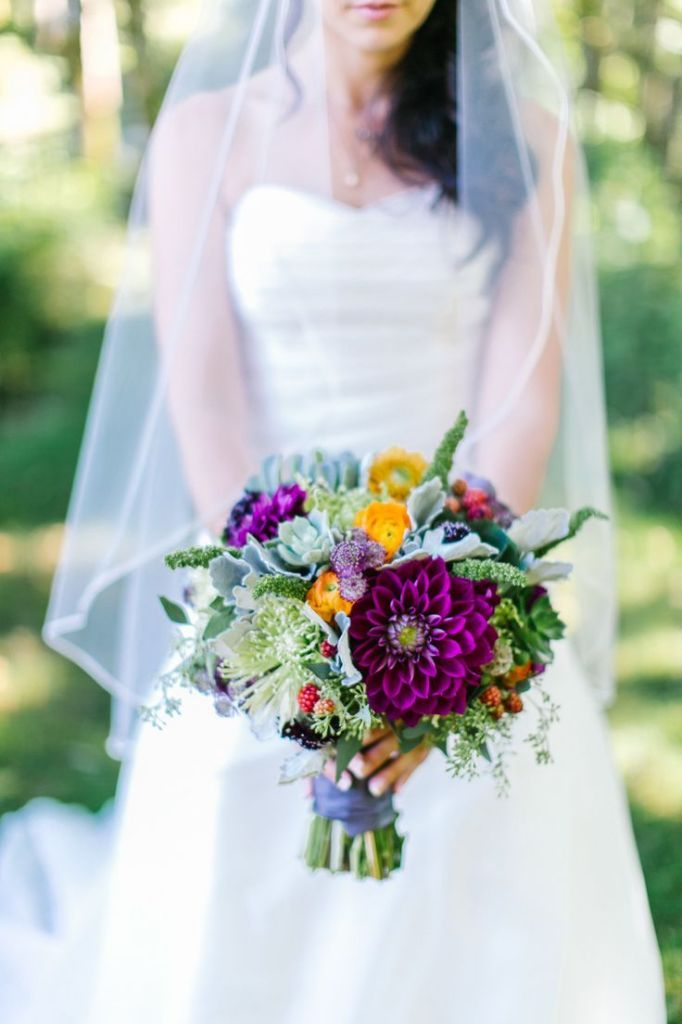 rustic purple and green wedding bouquet for fall wedding