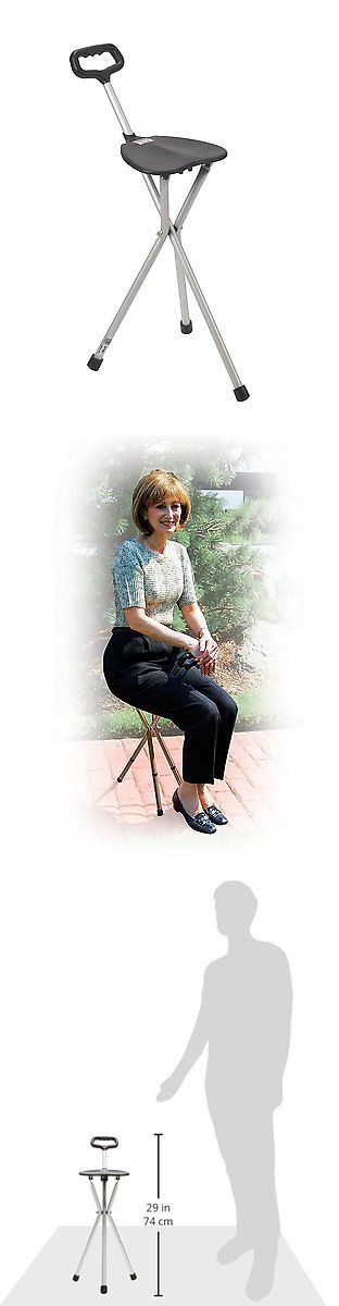 Walkers and Canes: Drive Medical Deluxe Folding Cane Seat, Black BUY IT NOW ONLY: $31.62