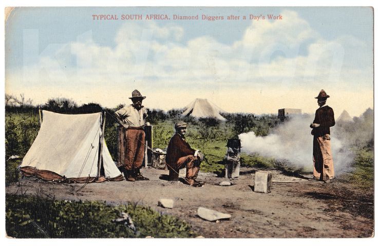 TYPICAL SOUTH AFRICA. Diamond Diggers after a Day's Work. Vintage postcard.