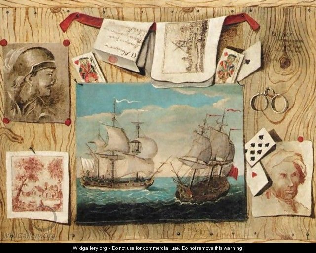 Trompe l 39 oeil still life with various prints playing for Poster fenetre trompe l oeil