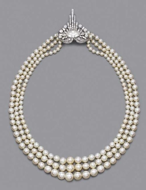 Rare Art Deco Pearl And Diamond Necklace   c.1925