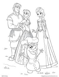 Kristoff, Anna, Elsa, and Olaf Coloring Page