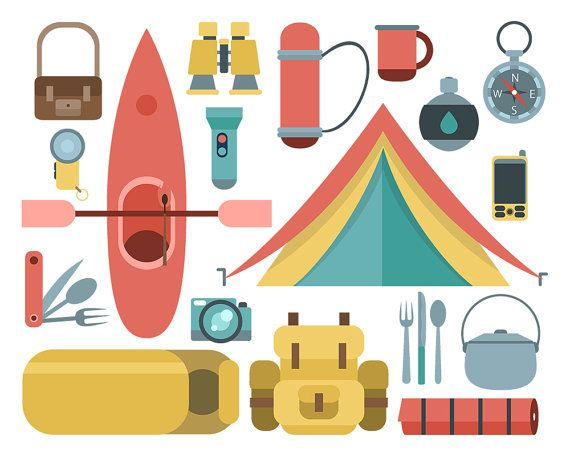 Camping Clipart Camp Equipment Tent Canoe Backpack By ClipArtKiwi