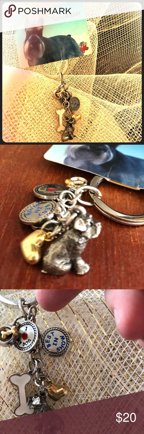 Schnauzer Key Chain with Charms Charms are Schnauzer, Best in Show, I ❤️ my dog, Bone, Feeding Bowl, Gold heart. Super cute,  Schnauzer has a pewter look. Silver in color. Great gift for your dog lover!🐶 Little Gifts Accessories Key & Card Holders