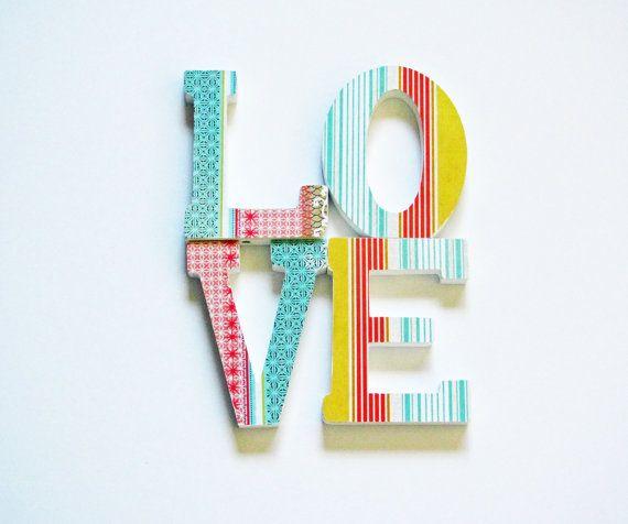 letters love wall shelf decor boho turquoise orange by SheShell, $18.00