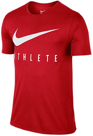 "Like Bill Bowerman once said ""If you have a body, you're an athlete"". Nike emphasizes that with the Men's Nike Swoosh Athlete T-Shirt and the message you give off when you wear it. This sporty yet stylish tee features a bold printed graphic on soft, sweat-wicking fabric that you will love. Everyone will know you're on the move with a purpose thanks to the ""Athlete"" motto that is printed front and center under the Swoosh design trademark. Whether you're rocking this for casual style or…"