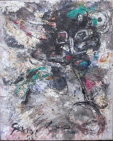 'Il gesto libero e caratteristico dell'arte informale' | P. GALLIZIO, Composition, 1959, Olio e tecnica mista su tela, 100x83 cm from GALLERIA D'ARTE ROCCATRE, Turin (I) #flashbackfair #turin #exhibitors #flashback16 #thenewsyncretism #allartiscontemporary