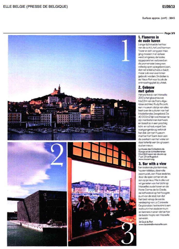 ELLE BELGIQUE juin 2013 Bar Restaurant La Caravelle Marseille www.lacaravelle-marseille.com
