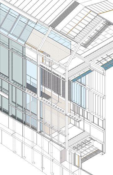 Axonometría constructiva de la nueva fachada a la rúa da Conga: sobre un zócalo de grandes piezas de hormigón se construye la estructura de...