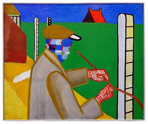 Roger Raveel - exellent example of his style and themes : everyday life
