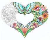 Open Hearts - Coloring Pages for adults-Set of 10