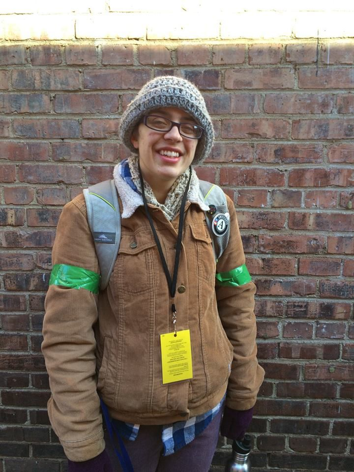 """Erin, 26.  """"I'm part of the green team. I help maximize recycling. The perk is the free films. I came on an Americorp vista and don't have much money. This is a great way to get involved in the community."""""""