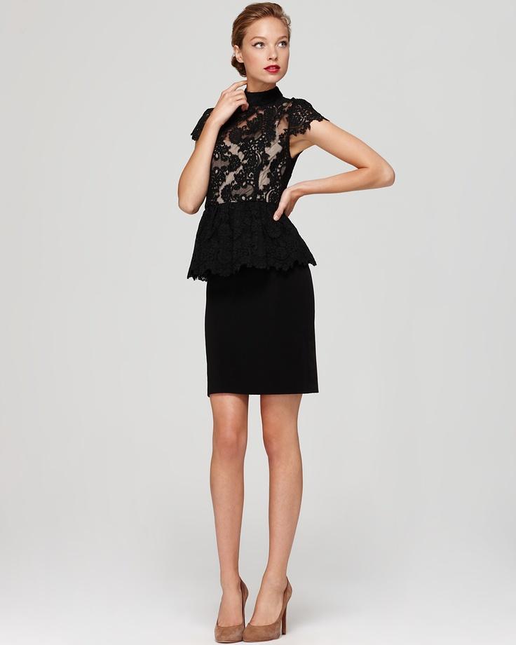 Alice + Olivia Dress - Robyn Lace Bodice Peplum   Bloomingdale's