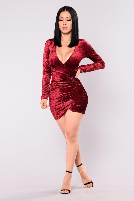 Riya Crushed Velvet Dress - Burgundy