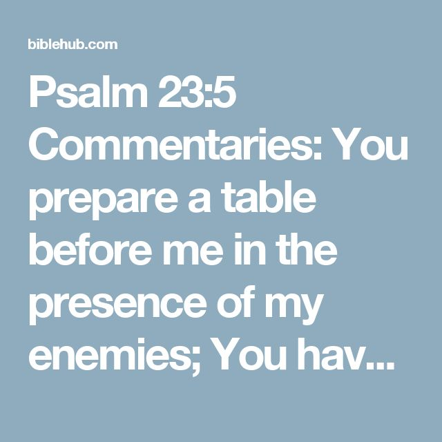 Psalm 23:5 Commentaries: You prepare a table before me in the presence of my enemies; You have anointed my head with oil; My cup overflows.