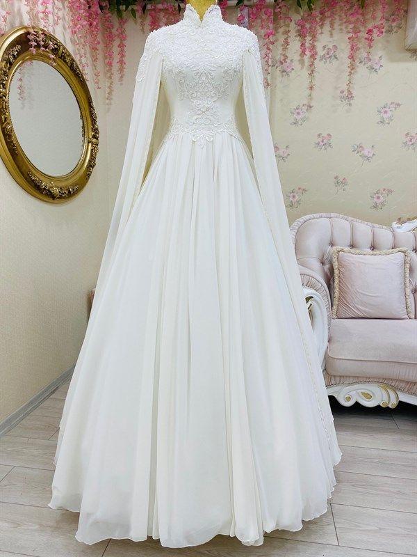 Sifon Pelerinli Tesettur Gelinlik 2020 Gelinlik Gelin Elbisesi Elbise Dugun
