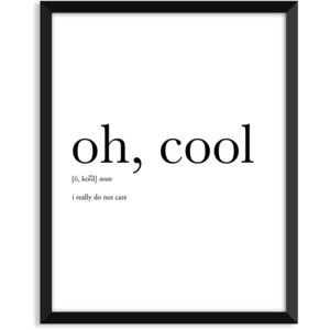 Oh cool definition, art poster, dictionary art print, office decor, minimalist poster, funny definition print, definition poster, christmas